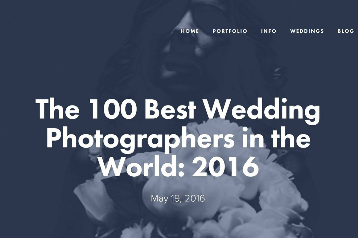 Named one of the '100 Best Wedding Photographers in the World 2016'