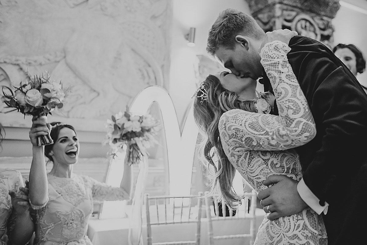 aynhoe park wedding first kiss